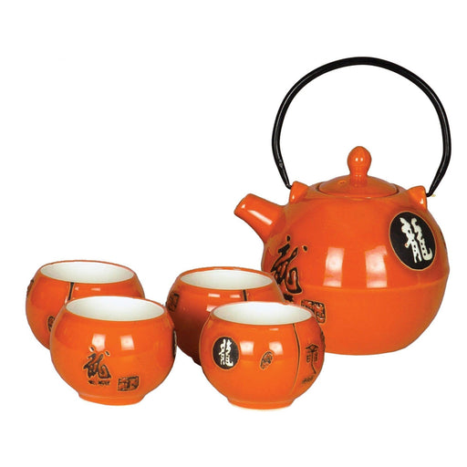 Glossy Orange Dragon Porcelain Teaset - Simply Utopia