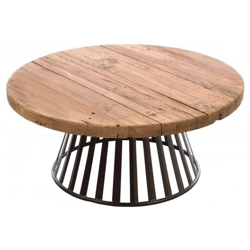 Round Coffee Table with Metal Base - Simply Utopia