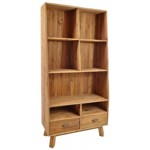 Reclaimed Pine Fair Isle Tall Cube Bookshelf With 2 Drawers And 7 Open Shelves - Simply Utopia