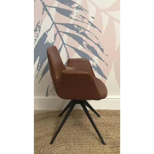 Fitzroy Tan Faux Leather Armchair - Simply Utopia