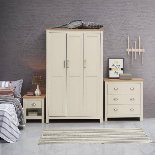 Lisbon 3 Piece Set (3 Door Wardrobe, 2+2 Chest, 1 Drawer Bedside) - Simply Utopia