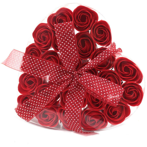24 Red Roses Soap Flower Heart Box - Simply Utopia