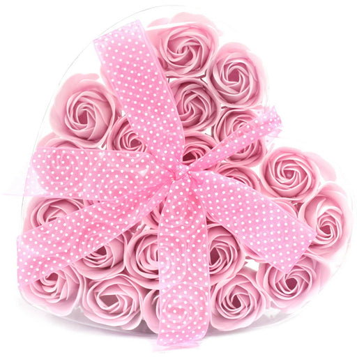 24 Pink Roses Soap Flower Heart box - Simply Utopia