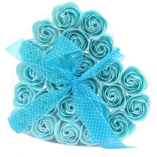 24 Blue Roses Soap Flower Heart box - Simply Utopia
