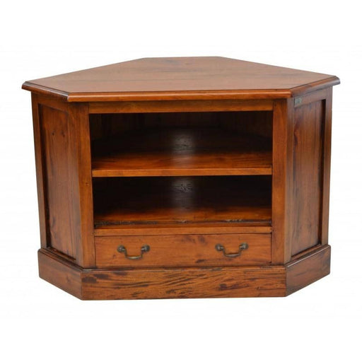 Solid Mahogany Village Corner TV Unit With 2 Open Shelves And 1 Drawer - Simply Utopia