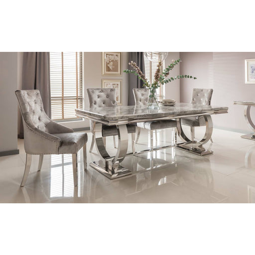 Arianna Marble And Polished Stainless Steel Dining Table - Simply Utopia