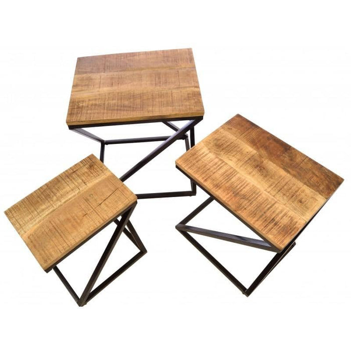 Old Empire Mango Wood Steel Framed Angled Nest Of 3 Tables - Simply Utopia