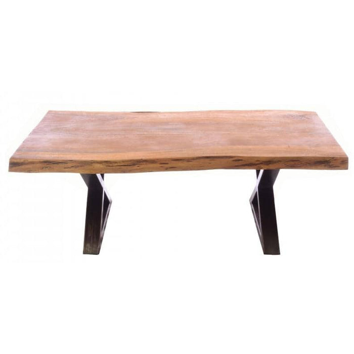 Old Empire Acacia Wood Cross Steel Legged Coffee Table - Simply Utopia