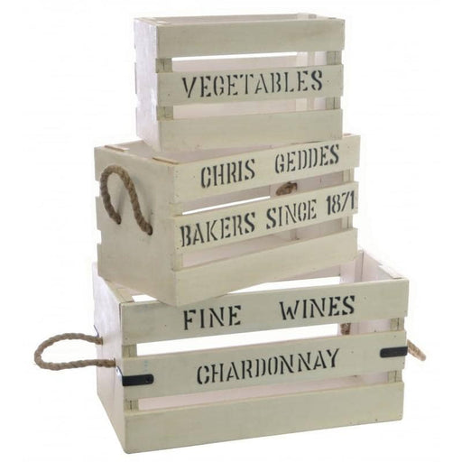 Set of 3 White Vintage Boxes with Lettering - Simply Utopia