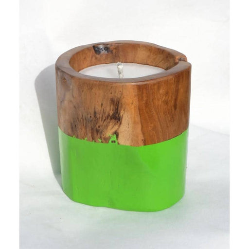 Teak Outdoor Candle with Apple-Green Band - Simply Utopia