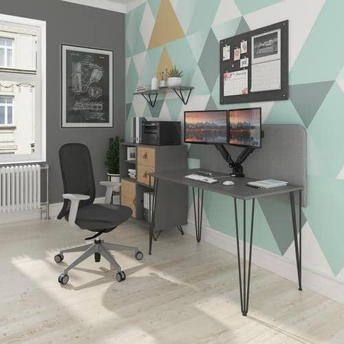Tikal Straight Desk 1400Mm X 600Mm With Black Hairpin Leg And Support Pedestal With Cupboard Door - Simply Utopia