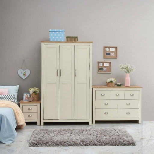 Lisbon 3 Piece Set (3 Door Wardrobe, 3+4 Chest, 2 Drawer Bedside) - Simply Utopia