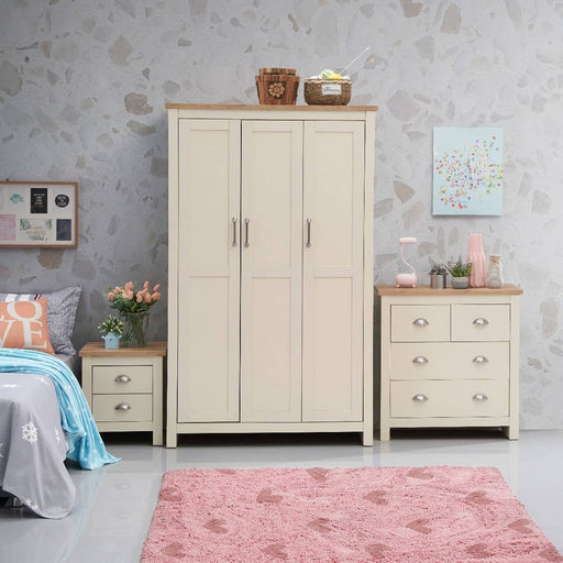 Lisbon 3 Piece Set (3 Door Wardrobe, 2+2 Chest, 2 Drawer Bedside) - Simply Utopia