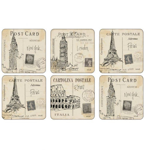 Pimpernel Postcard Sketches Set of 6 Coasters - Simply Utopia