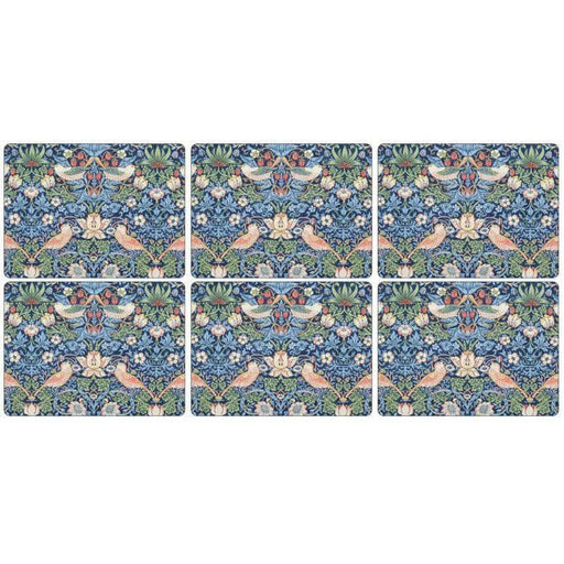 Morris and Co for Pimpernel Strawberry Thief Blue Placemats Set Of 6 - Simply Utopia