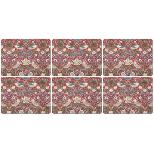 Morris and Co for Pimpernel Strawberry Thief Red Placemats Set of 6 (s) - Simply Utopia