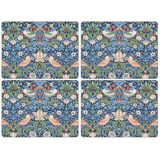 Morris and Co for Pimpernel Strawberry Thief Blue Placemats Set Of 4 - Simply Utopia