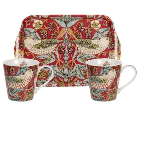 Morris and Co for Pimpernel Strawberry Thief Red Mug and Tray Set - Simply Utopia