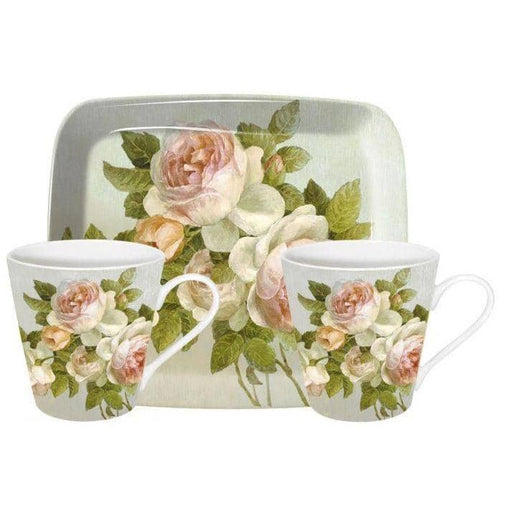 Pimpernel Antique Rose Mugs and Tray Set - Simply Utopia