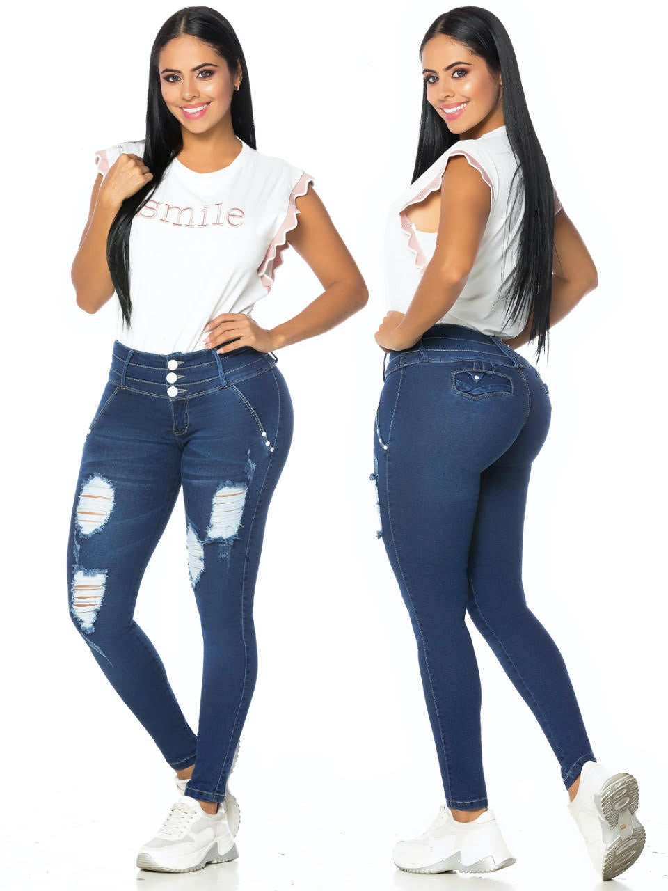 3 button navy blue ripped push up skinny jeans