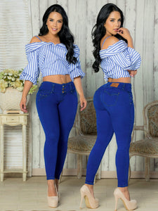 3 button power blue push up skinny jeans
