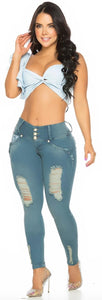 Baby Blue ripped push up skinny jeans