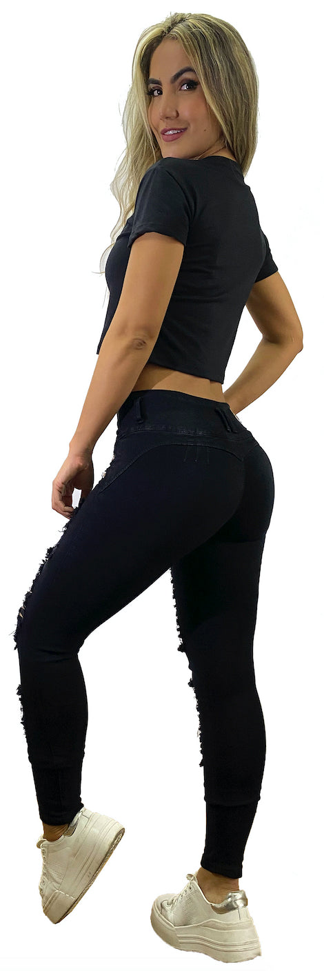 Black frayed push up skinny jeans