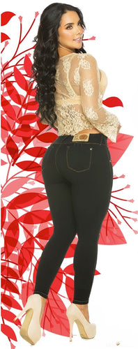 Black with gold stitching push up skinny jeans