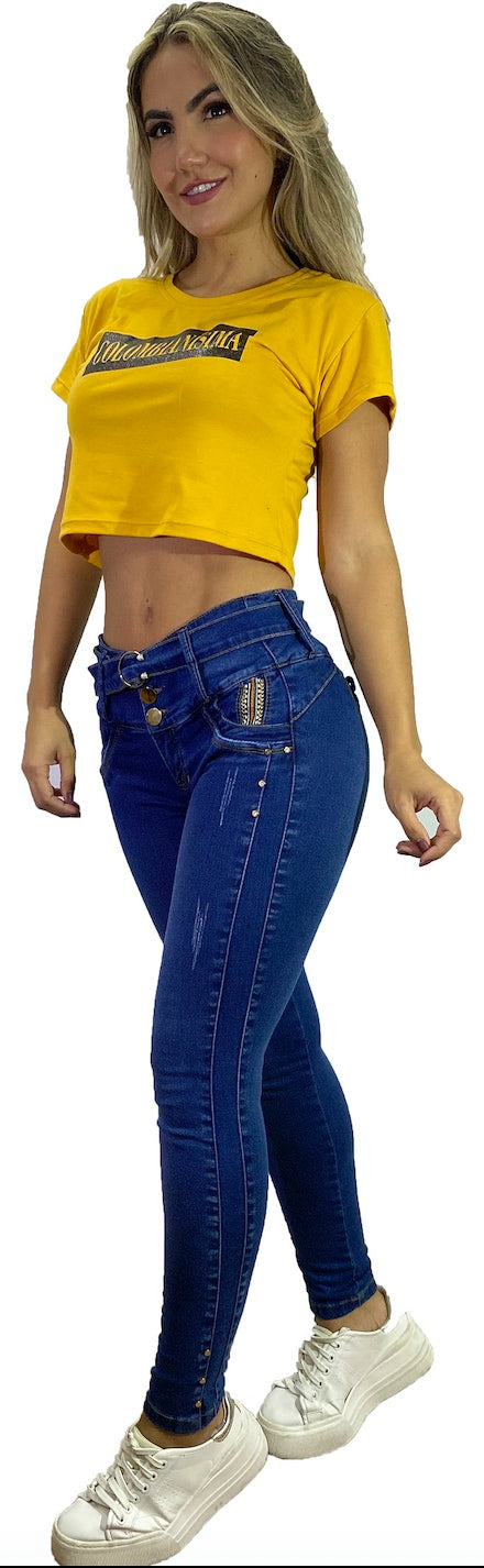 Blue high waist with stitching push up skinny jeans