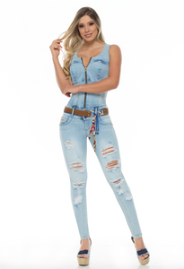 Sleeveless stone wash blue zip up skinny push up jeans jump suit w/ torn front and camel belt