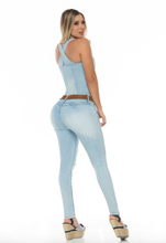 Cargar imagen en el visor de la galería, Sleeveless stone wash blue zip up skinny push up jeans jump suit w/ torn front and camel belt
