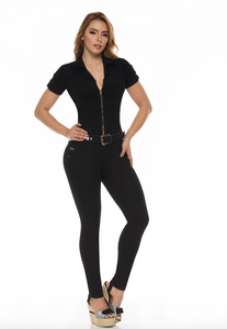 Short sleeve black zip up skinny push up jeans jump suit