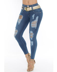 Ripped blue push up skinny jeans w/ ripped front and gold belt