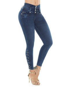 Blue High waist 5 button push up jeans w/ laced legs design