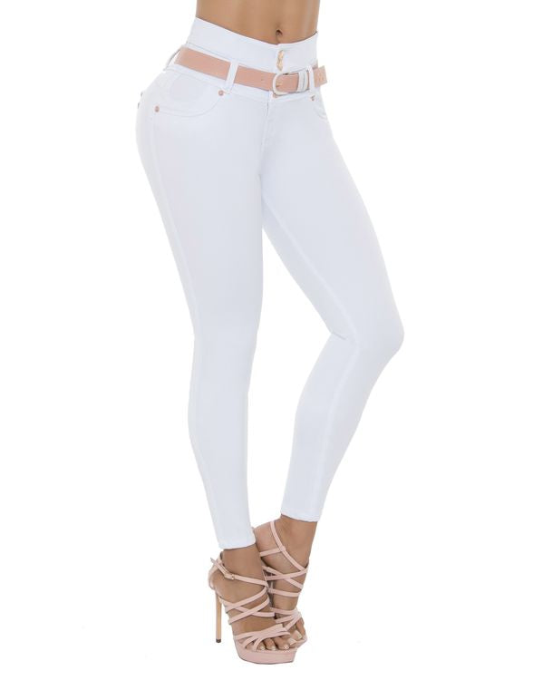 White High waist push up jeans with salmon belt