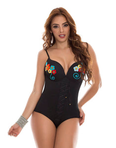 Black w/ flowers perfect body corset