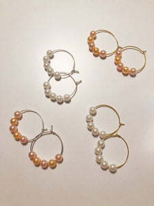 Girly Pearly Hoops