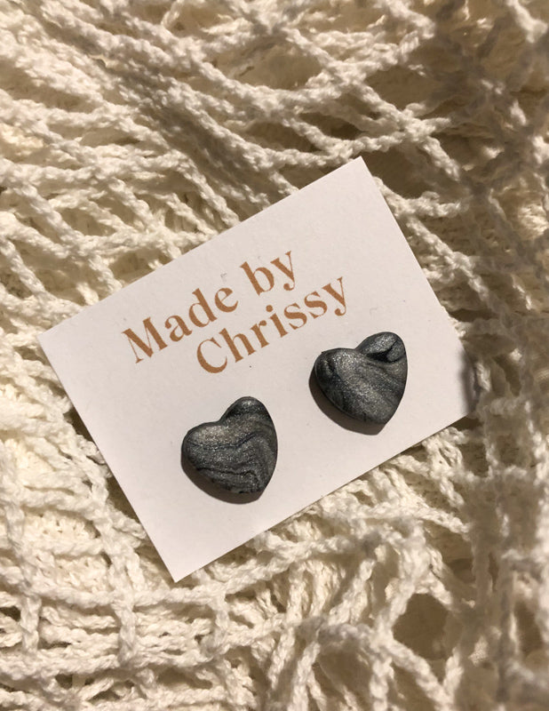 Heart Studs Grey Marble