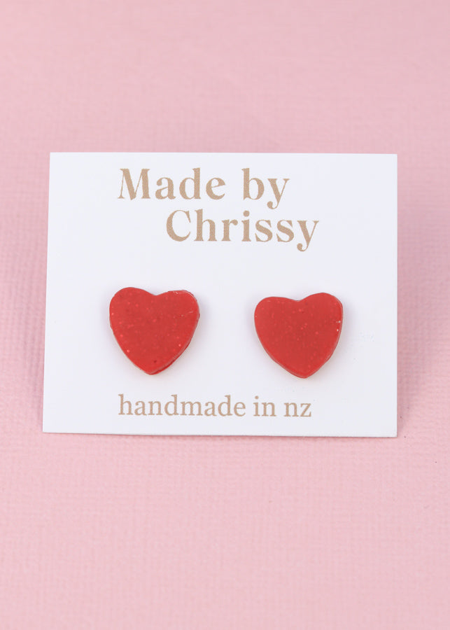 Heart Studs Red