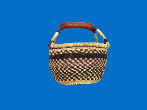 Mini Round Basket/W Leather Handle