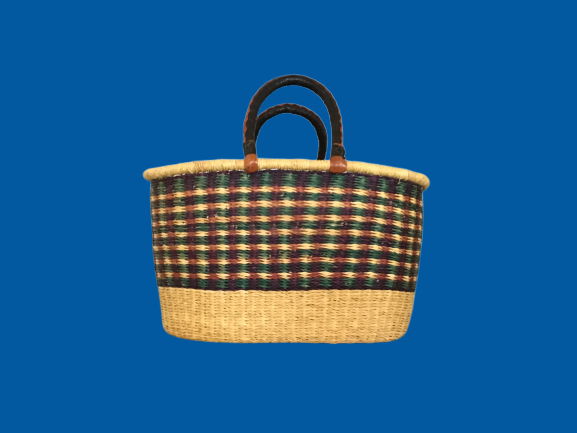 Oval Basket w/ Leather Handles