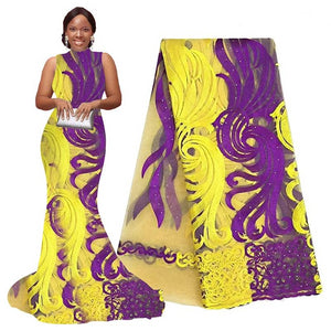 Purple african lace fabric