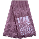 Onion Color African Stones Lace Fabric