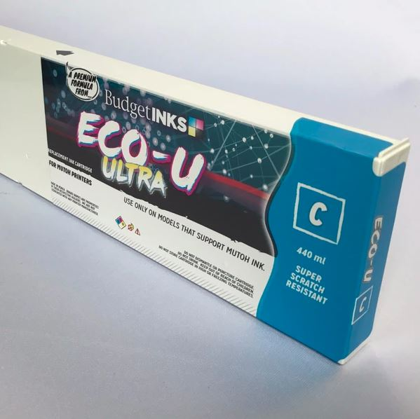 [Budget Inks] Mutoh Eco-U ULTRA Compatible Eco-Solvent Ink (440 mL) - Cyan - dtg.ink.space