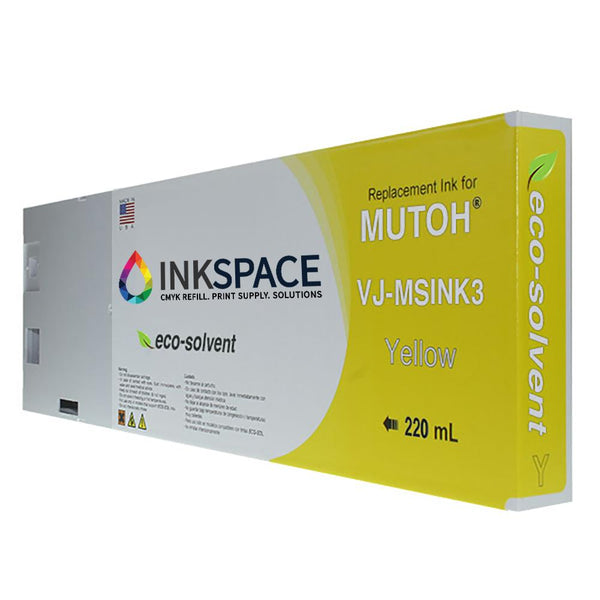 Mutoh Valuejet Eco-Solvent Compatible Ink (220 mL) - Yellow - dtg.ink.space