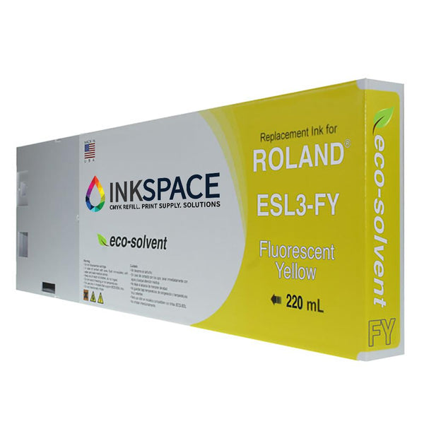 Roland ESL3 Eco-Sol Max Compatible Eco-Solvent Ink (220 mL) - Fluorescent Yellow - dtg.ink.space