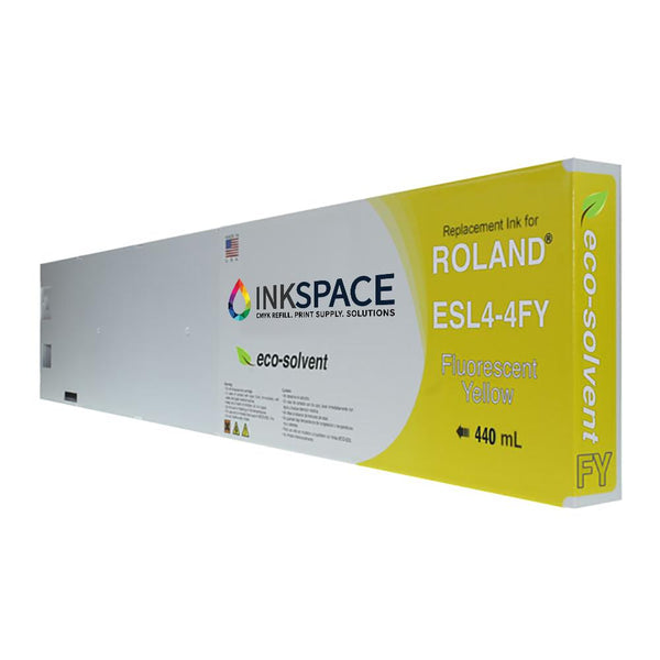 Roland ESL4 Eco-Sol Max 2 Compatible Eco-Solvent Ink (440 mL) - Fluorescent Yellow - dtg.ink.space