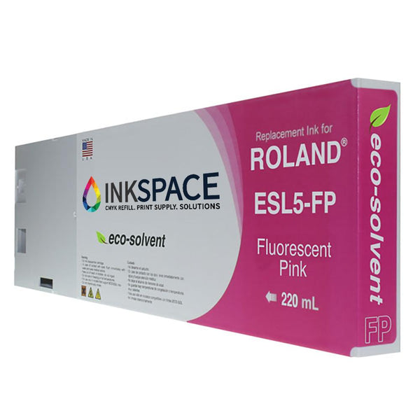 Roland ESL5 Eco-Sol Max 3 Compatible Eco-Solvent Ink (220 mL) - Fluorescent Pink - dtg.ink.space