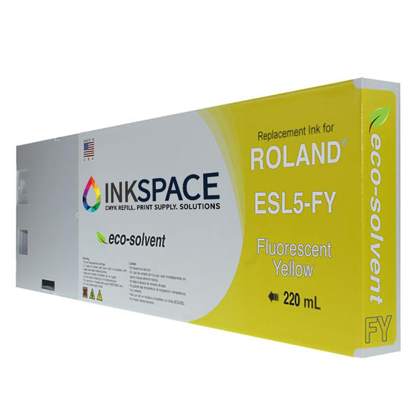 Roland ESL5 Eco-Sol Max 3 Compatible Eco-Solvent Ink (220 mL) - Fluorescent Yellow - dtg.ink.space