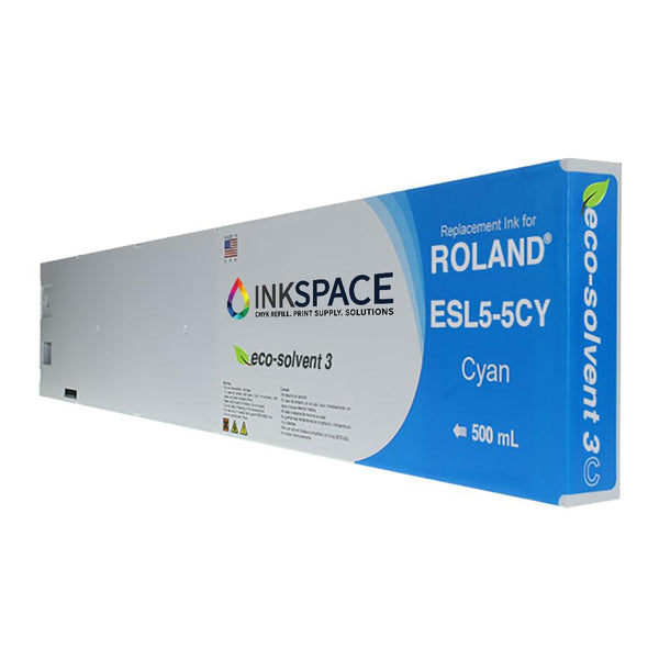 Roland ESL5 Eco-Sol Max 3 Compatible Eco-Solvent Ink (500 mL) - Cyan - dtg.ink.space